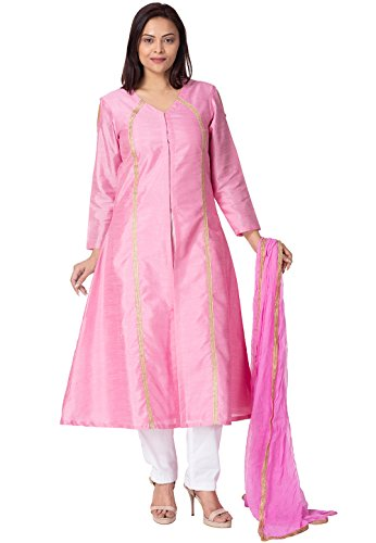 Utsav Fashion Plain Bhagalpuri Silk A Line Suit in Pink