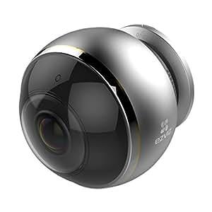 EZVIZ Mini Pano IP Telecamera di Sicurezza, 3MP Panoramica Fisheye 2.4Ghz & 5Ghz Doppia Banda WIFI Interni Videocamera Audio Bidirezionale, Baby Monitor del Bambino & Animale, Visione Notturna