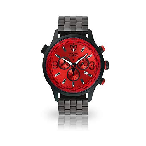 DETOMASO AURINO Uomo Orologio Cronografo Analogico Quarzo nero bracciale in acciaio inox quadrante rosso DT1061-B-867