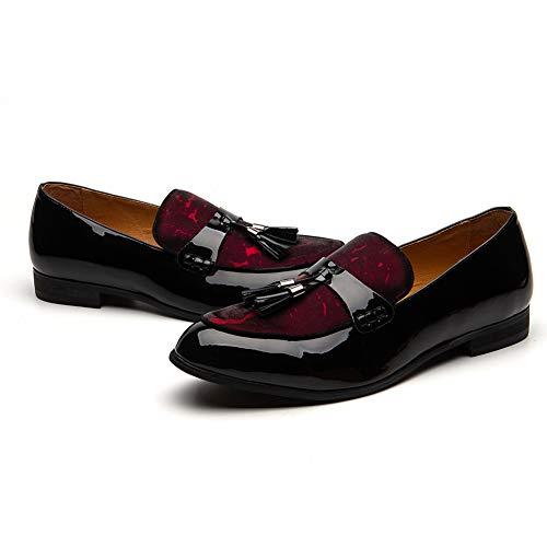 JITAI Männer Lindford Moc Toe Bit Slip-On Penny Loafer Party Schuhe... Black Leather Moc Toe