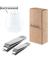 Profi Nagelknipser, rostfreier Nagelzwicker mit neuer Auffangbox, scharfe Nagelschere aus Edelstahl, robuster Nagelschneider als 3er Set, premium Nail clipper handlicher Knipser