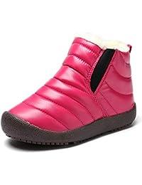 Botas Niño Invierno Forrado Calentar Botas de Nieve para Niños Botines Niña Planos Zapatos Al Aire Libre Impermeable Negro Morado Amarillo 26-37