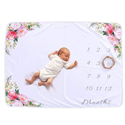 LY-LD Baby Monatsmilestone Growing Blanket Neugeborene Säuglings-Beglant DIY Photography Hintergrund Props personalisiert Keepsake Best Gifts for Baby,D,76X102cm (Props Photography Diy)