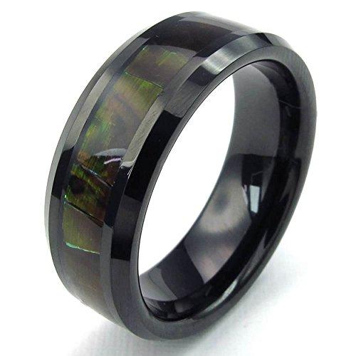 AnaZoz Schwarz Klassische Jagd Camo Smooth Gloss Bandmens Tungsten Ring Größe 57 (18.1) (Trauringe Titan Herren Camo)