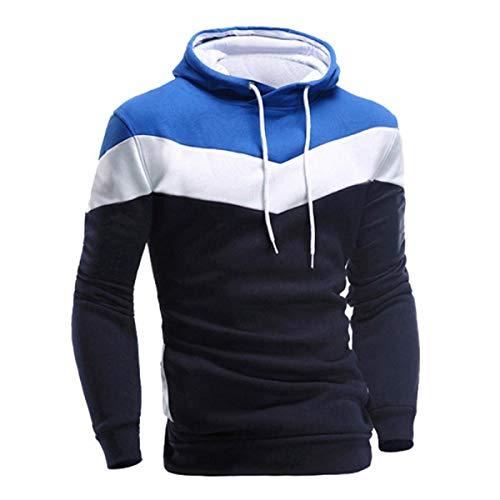 VECDY Herren Bluse,Räumungsverkauf-Herren Männer Winter Slim Hoodie Warm Pullover Sweatshirt mit Kapuze Mantel Outwear Lässiger Kapuzenpullover (50, O-Marine)