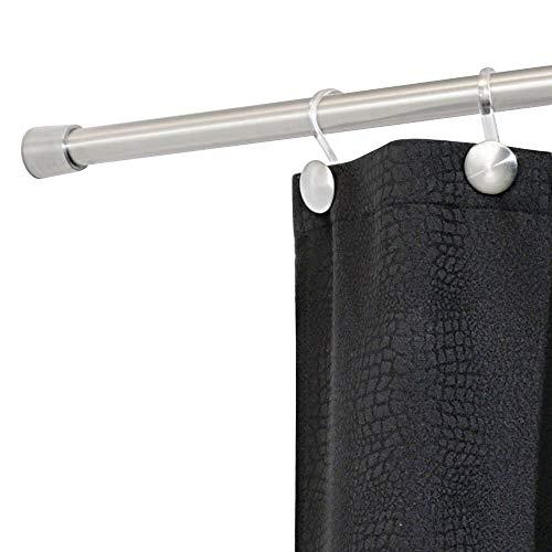 iDesign Duschvorhangstange, kurze Teleskopstange aus Edelstahl, ausziehbare Duschvorhangstange ohne Bohren für Dusche und Badewanne, mattsilberfarben