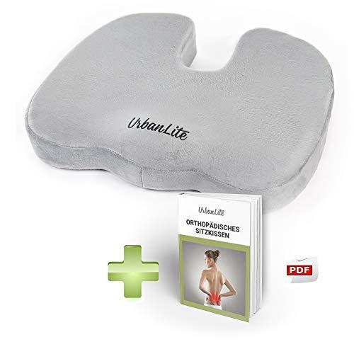UrbanLite (Neu) Orthopädisches Sitzkissen gegen Rückenschmerzen und zur Entlastung von Steißbein und Bandscheiben - Ergonomische Sitzauflage aus Visco-Schaum für eine verbesserte Haltung - mit eBook