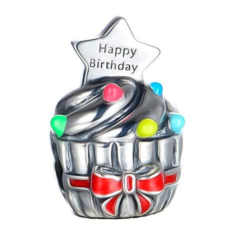 Happy Birthday Cup cake charm-925sterling Silv