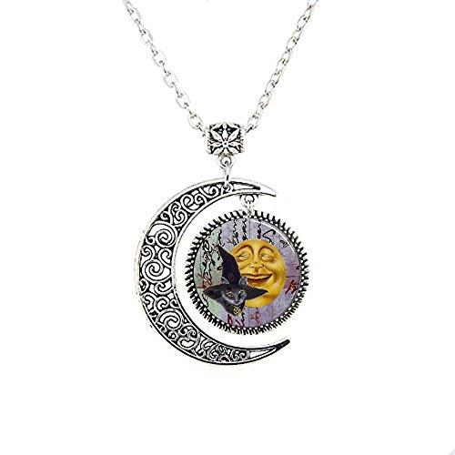 arz mit Hexen Hut Anhänger, lächelnde Halskette Mond, Halloween Katze schwarz mit Hexen Hat Moon Schmuck, Moon Halskette Glas Art Bild (Halloween Katzen Bilder)