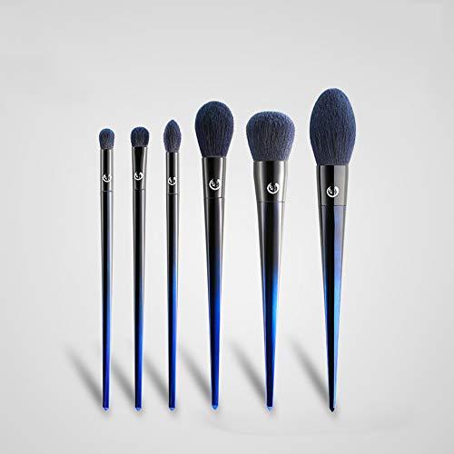 LJHA huazhuangshua Pinceau de maquillage, ensemble de pinceaux de fard à paupières, souple, prise moyenne, avec 6 pinceaux de fard à paupières, pour maquillage, épouser, bleu