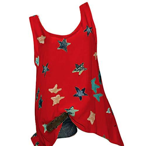 GNYD Damen Sommer Oberteile Mode Plus Size Stars Druck äRmellose Weste Bluse Easy Top Shirt