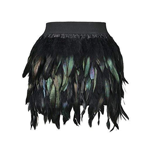 Ansug donne gonna piume nera mini cinturino elastico a-line gonne costume di carnevale per halloween natale (m)