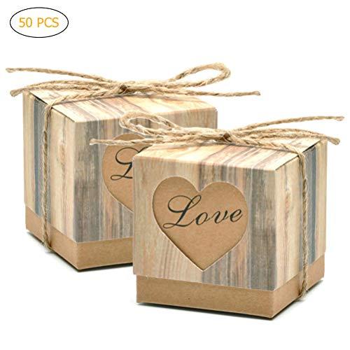 inenschachtel Fenster Hochzeit Dekoration Vintage Kraft Favors Geschenk Boxen mit Sackleinen Schnur Chic Romantische Liebhaber ()