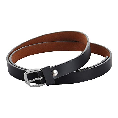 WALLETIN PU Leather Black With Highlighted Black Edge Belt For Women - 30 Size