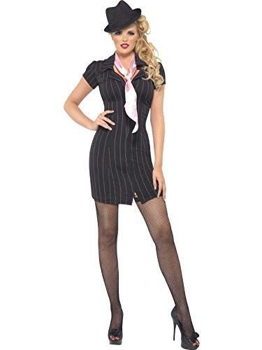 Smiffys, Damen Gangster Lady Kostüm, Nadelstreifen-Kleid und Halstuch, Größe: M, - Nadelstreifen Kostüm