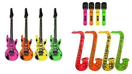Aufblasbare Gitarre und Saxophon-Mikrofon, 3 Stück sortiert