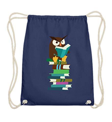 auf einem Stapel Bücher - Lesen bildet - Lehrer Student Nerdy Lustiges Tier - Baumwoll Gymsac -37cm-46cm-Marineblau ()