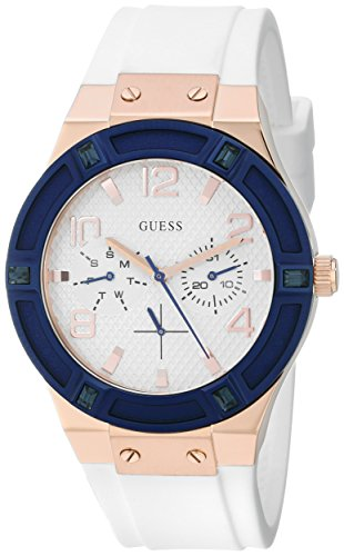 GUESS U0564L1 LADIES WHITE SILICONE 39MM STAINLESS STEEL CASE DATE WATCH
