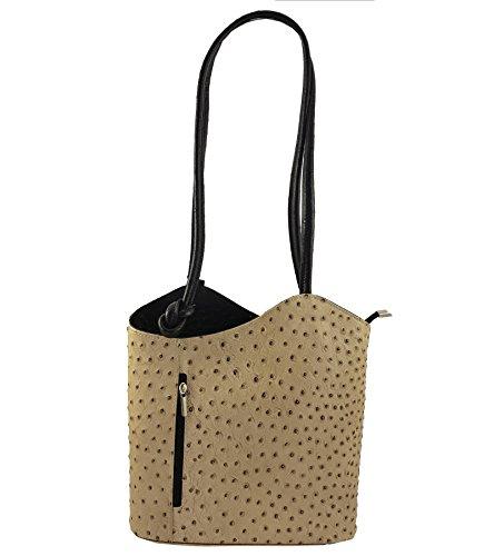 Freyday 2 in 1 Handtasche Rucksack Designer Luxus Henkeltasche aus Echtleder in versch. Designs (Strauß Beige-Schwarz)