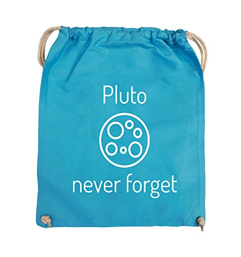 Comedy Bags - Pluto never forget - Turnbeutel - 37x46cm - Farbe: Schwarz / Silber Hellblau / Weiss