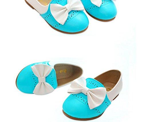 Ohmais Enfants Filles Chaussure cérémonie Ballerines à bride Fête Demoiselle d'honneur Mariage Escarpin plat Babies Bleu