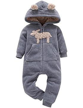 Yummilan Giacche di Natale Maglia di velluto Cervo Tuta del bambino Stripe con cappuccio Pigiama