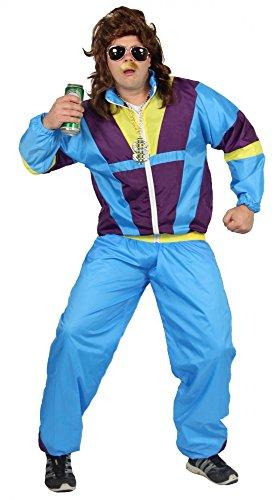 80er Jahre Trainingsanzug Kostüm für Erwachsene | türkis lila gelb | Größe: S – XXXL - 2