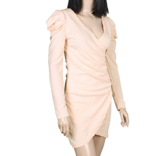 Lady Bouffant Manches Col V Pull-over Fin Robe Sexy Rose Pâle XS Rose Clair