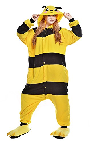 Kind Kostüm Bee - ABYED® Kostüm Jumpsuit Onesie Tier Fasching Karneval Halloween kostüm Erwachsene Unisex Cosplay Schlafanzug- Größe XL -for Höhe 175-181CM, Gelb Biene