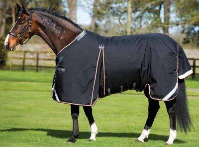 Horseware Rambo Optimo Weidedecke ohne Füllung schwarz orange 140