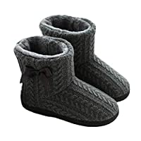 Glomixs Winter Boots Women, Slippers, Women Ladies Indoor Slipper Boots with Knitted Upper, Women Winter Warm Ankle Boots Indoor Plush Slipper Boots Cozy Home Shoes