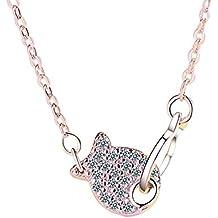 Nikgic Jewelry - Collar con colgante de pez de diamante con doble anilla para mujeres y