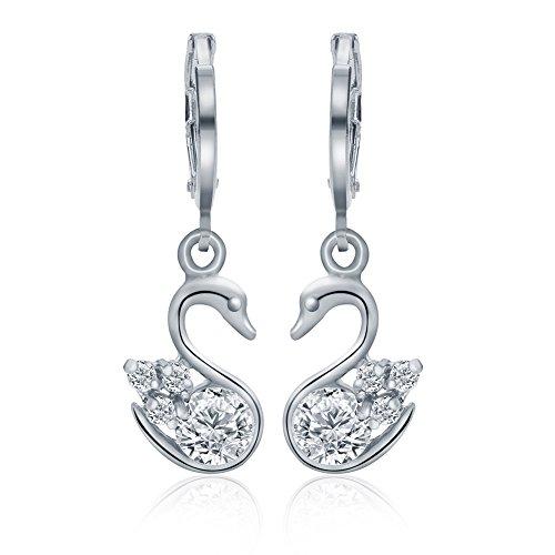 ELEGANCE PARISIENNE Stylische Damen-Ohrringe SWAROVSKI ELEMENTS Kristall 18k Weißgold Vergoldet Glitzer Für Frauen Mädchen Kinder Strass -