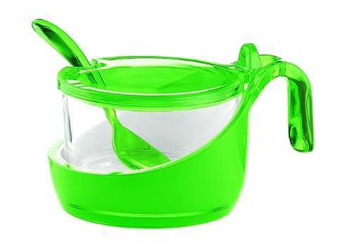 Guzzini 24890044 Coupelle à Fromage/Sucrier avec Petite Cuillère Bicolore Vert Acide 8 x 13,8 x 10