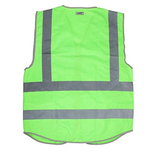 Phenovo Hi-Vis Safety Vest With Zipper Reflective Tape Jacket Waistcoat green