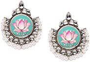 Zaveri Pearls Antique Silver Tone Enamelling Lotus Design Dangle Earring For Women-ZPFK8475
