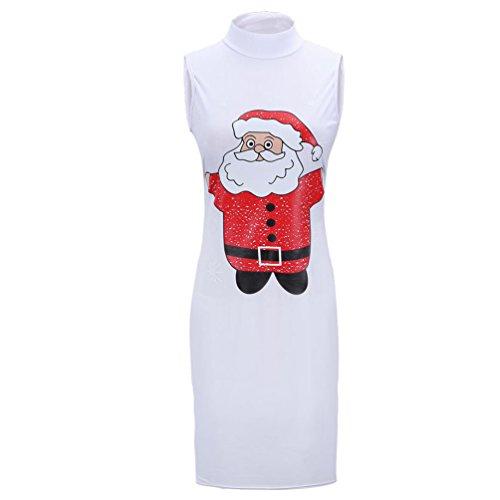 YiJee Damen Weihnachten Kleid Schneemann Weihnachtsmann Santa Rentier Druck Kleid Lose Minikleid Weiß Santa