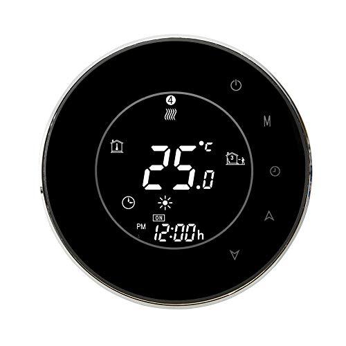 SEGRJ 3A WiFi Sprachsteuerung programmierbare Wasserheizung Touchscreen LCD Thermostat, Schwarz -