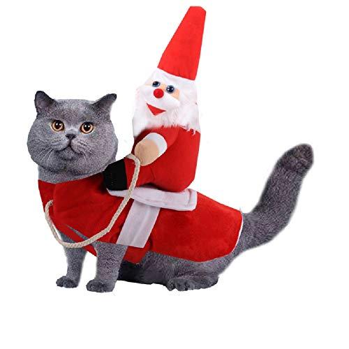 SHIDEDIAN Weihnachtsmann, Weihnachtskostüm, lustiges Haustier Cowboy Cavallo Design Hund Katze Kleidung Kleidung Kleidung Party Dress up Weihnachten
