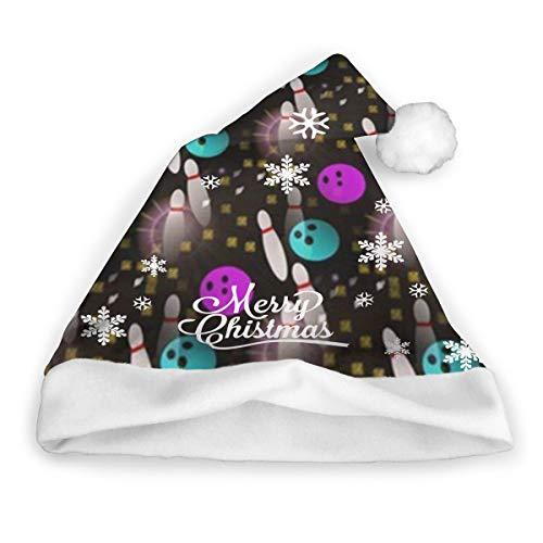 dfgi Night Fun Bowling Weihnachtsmütze Christmas Santa Hat Short Plüsch mit weißen Manschetten Plüsch Weihnachtsmütze für Erwachsene 16x12 Zoll