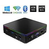 Mini PC Windows 10, Ordinateur de Bureau Intel Z8350 Processeur 4 Go DDR/ 64 Go EMMC, Mini Ordinateur 4K/ VGA HDMI Output/ Ethernet 1000Mbps LAN/ WiFi Dual Band/ Bluetooth 4.1/ USB 3.0