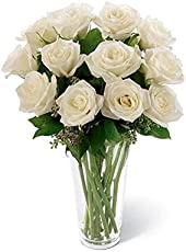 FloraZone Calm N Beautiful White Roses in a Glass Vase Same Day Delivery