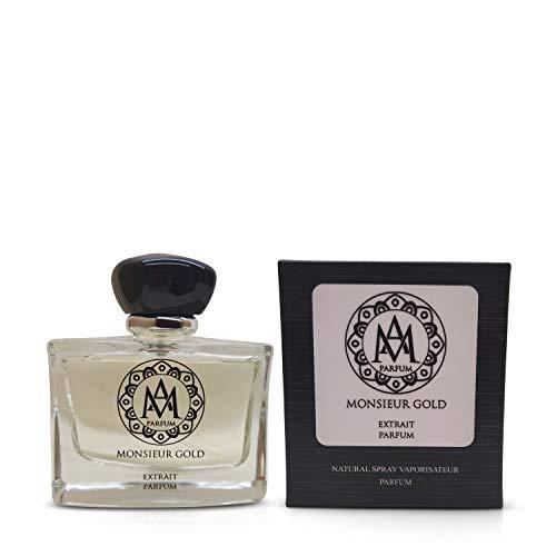 Profumo uomo essenza am monsieur gold extrait parfum 100ml made in italy,fragranza simile ad aventus creed,profumi ad altissima persistenza,intenso,made in italy