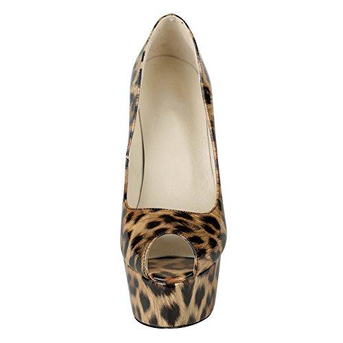 EKS , Sandales Compensées femme Noir - Leopard