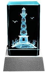 Kaltner Präsente Stimmungslicht LED Kerze/Kristall Glasblock / 3D-Laser-Gravur Leuchtturm Meer & Urlaub