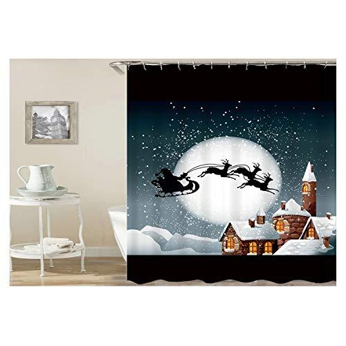 Gnzoe Polyester Duschvorhang Santa Claus Fährt Rotwild Muster Design Bad Vorhang Mehrfarbig für Badezimmer/Badewanne 150x180CM