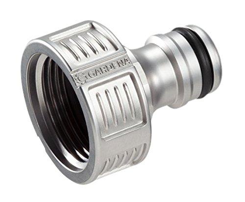 GARDENA Premium Hahnverbinder 26.5 mm (G 3/4 Zoll), Adapter für Wasserhähne, wertiges Metall, spritzfreier Wasserfluss, frostsicher, verpackt, 18241-20 - Anti-tropf-ventil