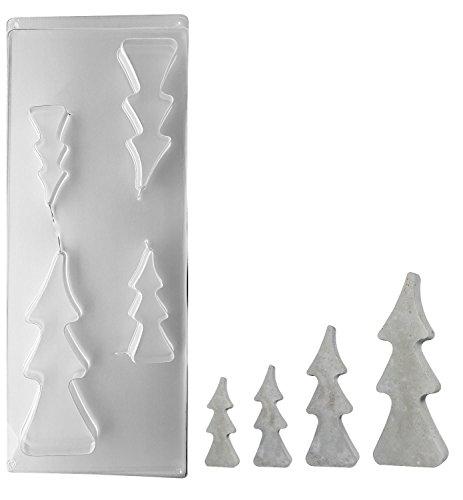 0 Gießform 4 Tannenbäume, Pet, Beton Gießformen, ideal zum Ausgießen mit Kreativ-Beton, Raysin-Gießpulver, Wachs, Seife, 8-16 cm, 3 cm tief (Blattgold Zubehör)