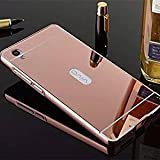CEDO Premium Luxury Metal Bumper Acrylic Mirror Back Cover Case For For Vivo Y51 / Y51L - Rose Gold