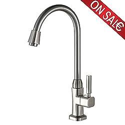 AURALUM Kaltwasser Armatur Schwenkbarer Wasserhahn Küchenarmatur für Küche Spültisch